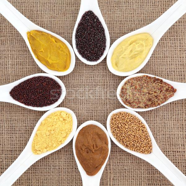 Mostarda variedade pó semente francês inglês Foto stock © marilyna