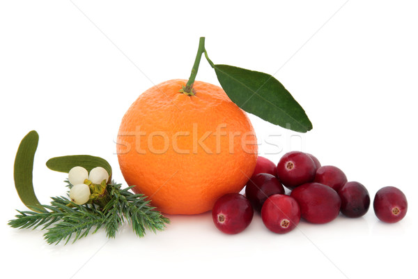 Canneberges fruits orange mandarin gui hiver Photo stock © marilyna
