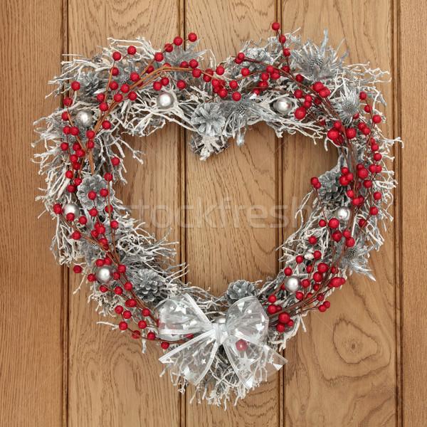花輪 中心 クリスマス 赤 銀 ストックフォト © marilyna