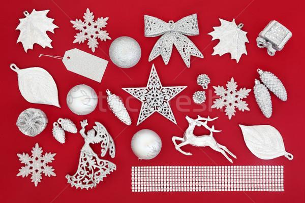 ストックフォト: 銀 · シンボル · クリスマス · ツリー · 装飾 · 葉