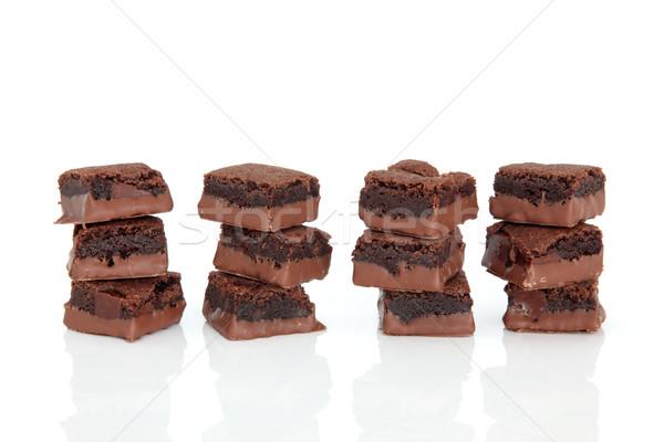 Cioccolato brownie dolci torta piazze isolato Foto d'archivio © marilyna