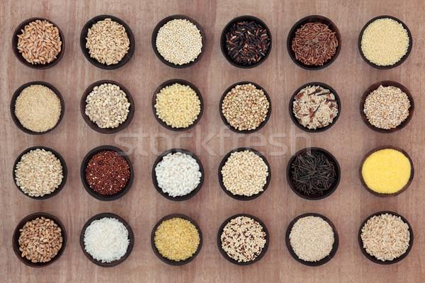 穀物 穀物 木製 ボウル パピルス ストックフォト © marilyna