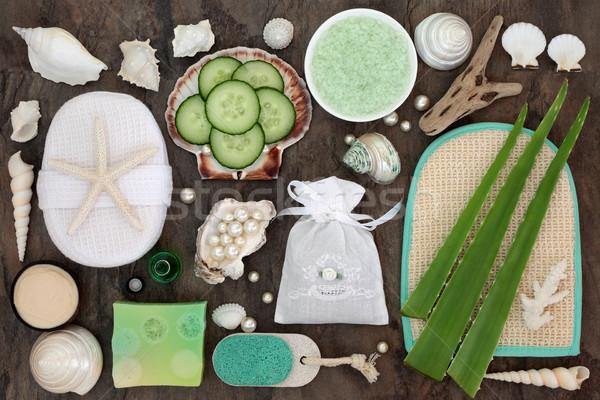 Bőrápolás szépségápolás szépség fürdő aloe uborka Stock fotó © marilyna
