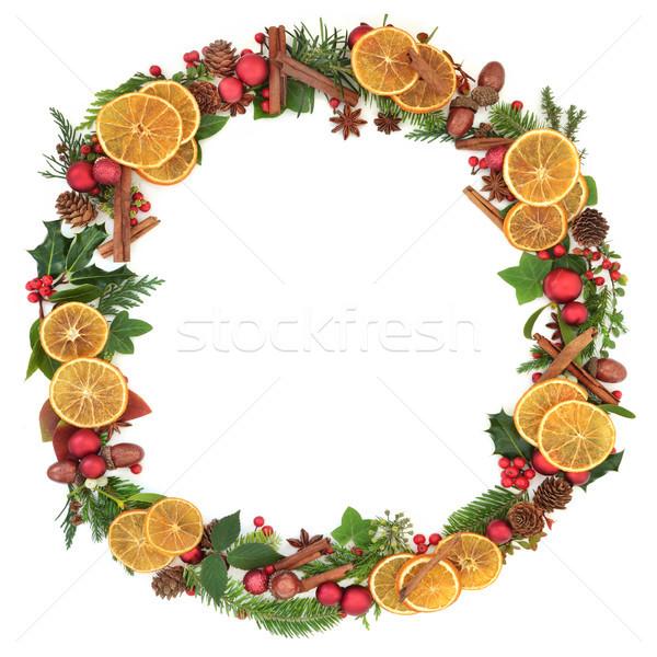 Noel çelenk çelenk kurutulmuş meyve Stok fotoğraf © marilyna