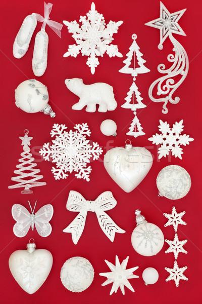 Branco natal bugiganga decorações vermelho cartão Foto stock © marilyna