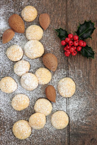 Mandula kekszek karácsony keksz diók levél Stock fotó © marilyna