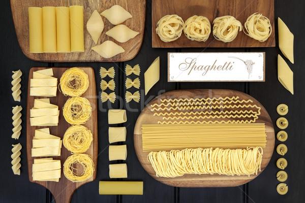 Spaghetti pasta raccolta essiccati alimentare Foto d'archivio © marilyna