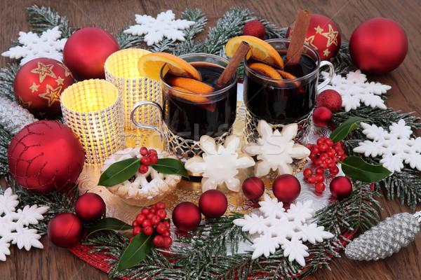 Christmas scena food stroną pić wina Zdjęcia stock © marilyna