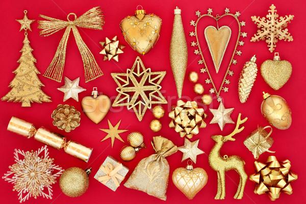 Altın Noel önemsiz şey süslemeleri semboller kırmızı Stok fotoğraf © marilyna