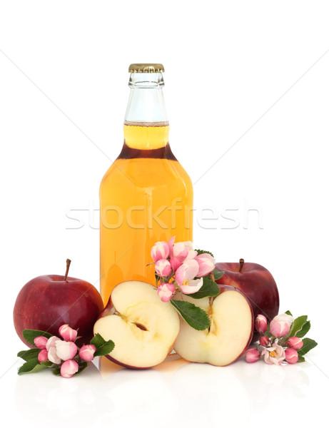 Elma şarabı elma çiçek çiçek şişe kırmızı Stok fotoğraf © marilyna