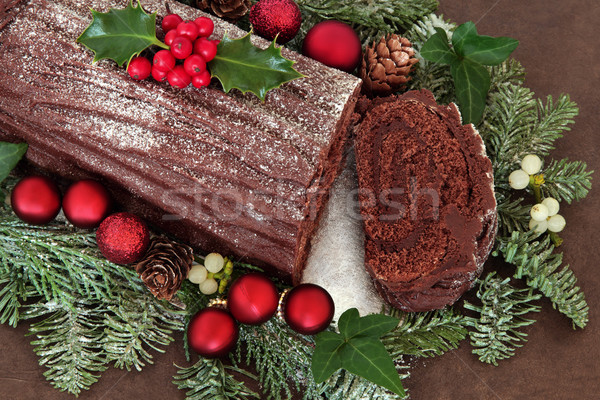 Chocolade cake Rood snuisterij decoraties klimop Stockfoto © marilyna