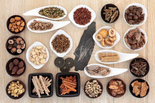 Akupunktur alternatif tıp iğneler Çin gıda Stok fotoğraf © marilyna