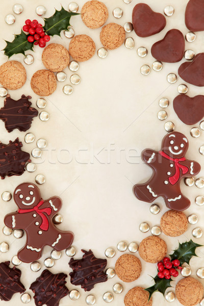 Stock fotó: Karácsony · csemegék · keret · absztrakt · kekszek · csokoládé