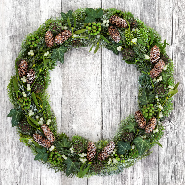 Stock photo: Winter Greenery Wreath