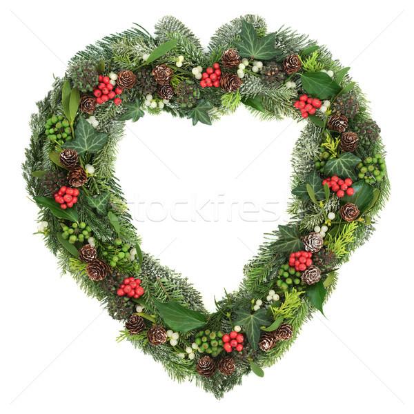 Winter Heart Shaped Wreath  Stock photo © marilyna