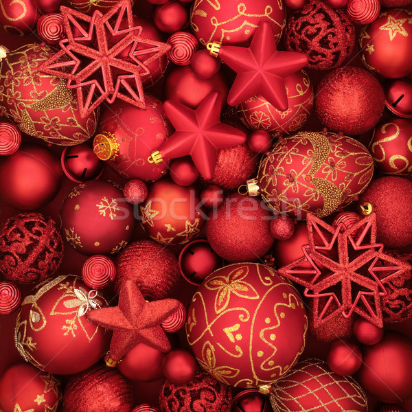 Christmas Red Bauble Background Stock photo © marilyna