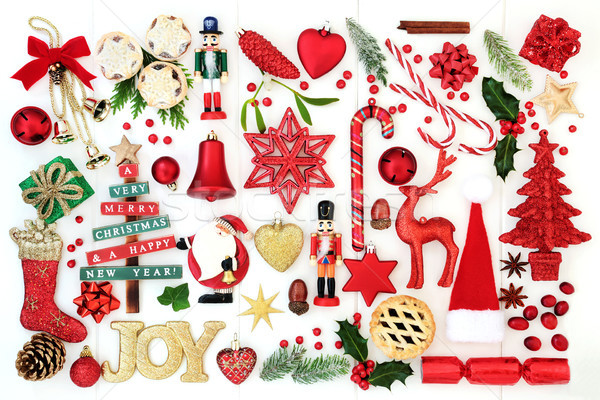 Christmas Joy Sign and  Bauble Decorations Stock photo © marilyna