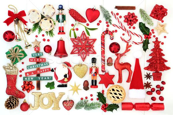 Weihnachten Freude Zeichen Spielerei Dekorationen Retro Stock foto © marilyna