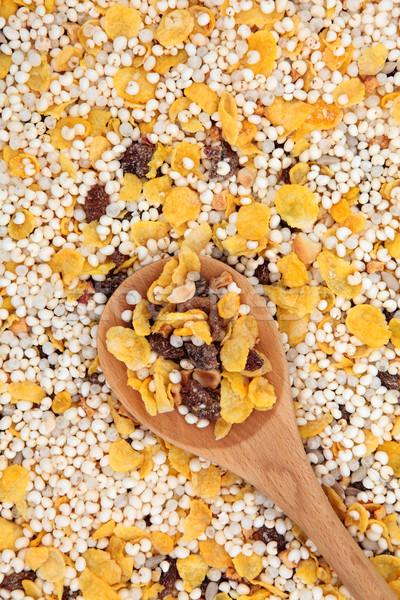 Gluténmentes müzli reggeli gabonapehely fakanál étel alma Stock fotó © marilyna
