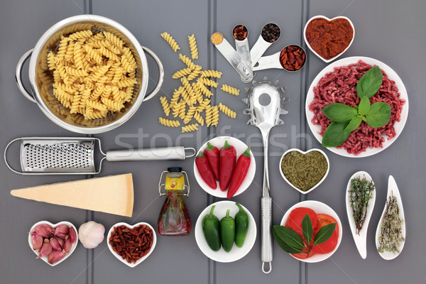 Cucina italiana ingredienti utensili da cucina legno grigio alimentare Foto d'archivio © marilyna