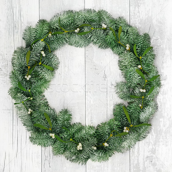 Christmas Spruce Fir and Mistletoe Wreath Stock photo © marilyna