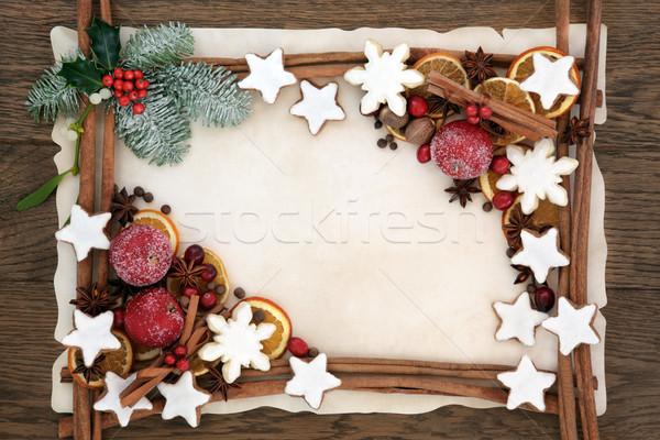 Christmas Abstract Food Border Stock photo © marilyna