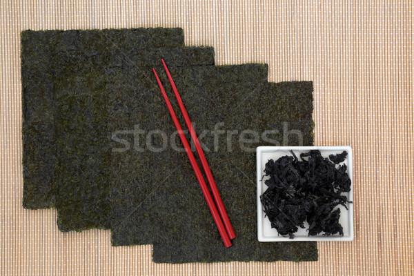 Foto stock: Japonês · alga · comida · vermelho · bambu