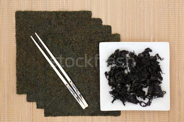 Japoński wodorost żywności biały pałeczki do jedzenia bambusa Zdjęcia stock © marilyna