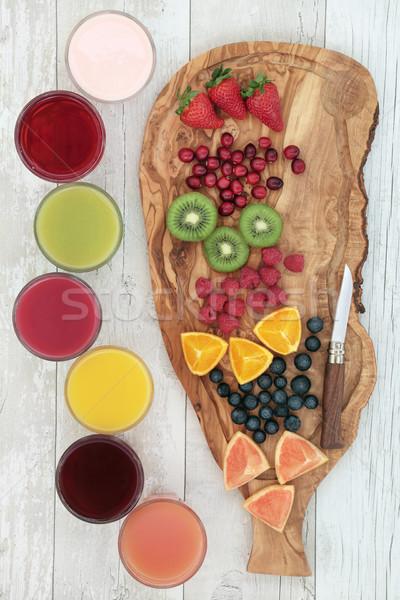 Fruits frais santé boissons olive bois bord Photo stock © marilyna