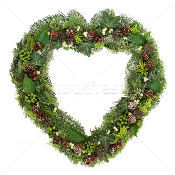 Winter Greenery Heart Wreath Stock photo © marilyna