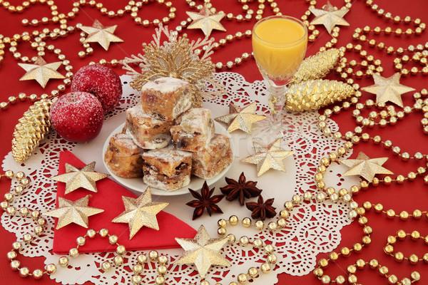 Stockfoto: Christmas · cake · ei · goud · snuisterij · decoraties