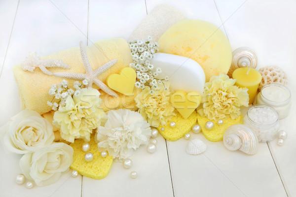 Szépség fürdő kellékek szépségápolás só krém Stock fotó © marilyna