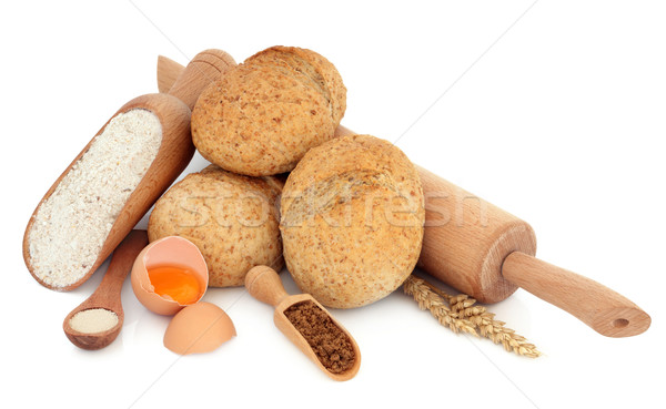 Teljes kiőrlésű tekercsek hozzávalók liszt tojások barnacukor Stock fotó © marilyna