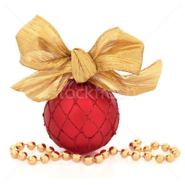 Lusso Natale gingillo rosso oro arco Foto d'archivio © marilyna