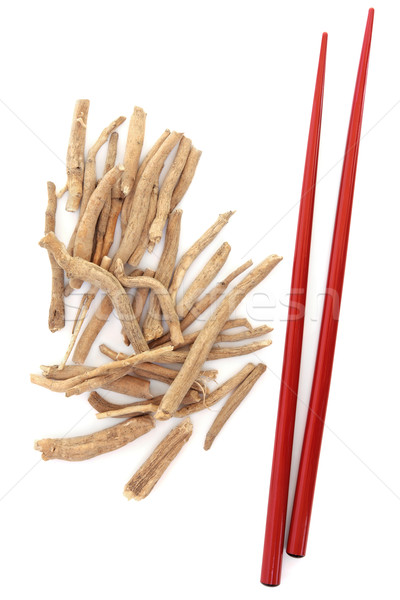 Ginseng herbe rouge baguettes blanche alimentaire Photo stock © marilyna