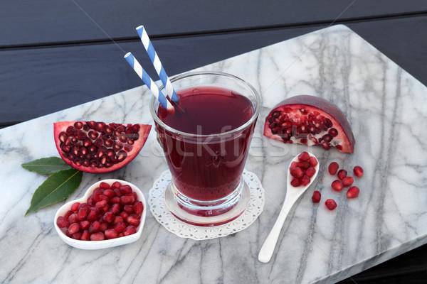 Gránátalma dzsúz egészség ital friss gyümölcs márvány Stock fotó © marilyna