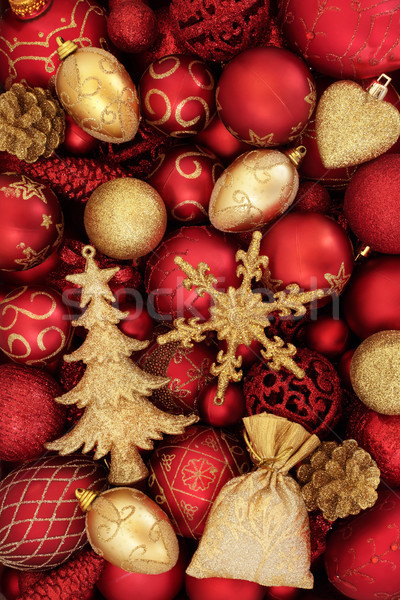 Christmas snuisterij decoraties Rood goud abstract Stockfoto © marilyna