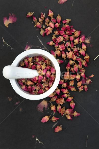 Medicina rosebud flor branco rosa preto Foto stock © marilyna