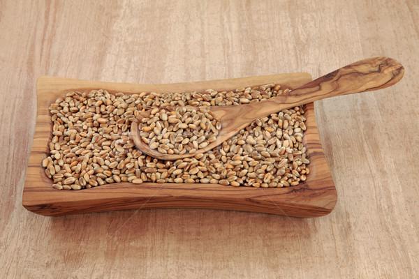 пшеницы зерна оливкового древесины чаши ложку Сток-фото © marilyna