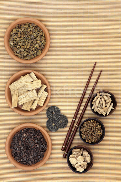 Herbal Medicine with I Ching Coins Stock photo © marilyna