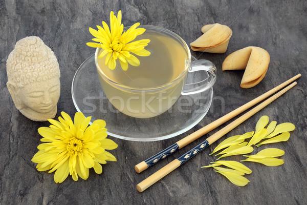 Egészséges krizantém tea gyógynövény virág üveg Stock fotó © marilyna