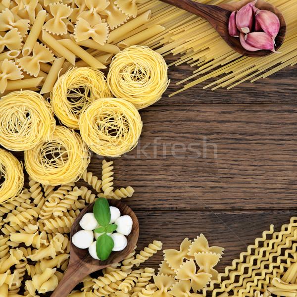 Włoskie jedzenie składniki włoski makaronu bazylia herb Zdjęcia stock © marilyna