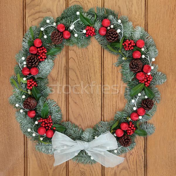 Christmas Spruce Fir Wreath Stock photo © marilyna