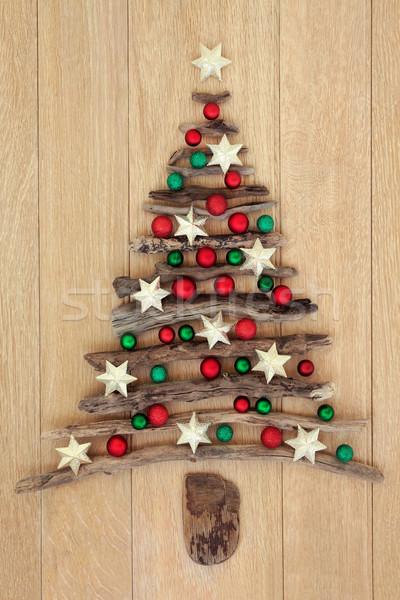 Troncos árvore de natal carvalho vermelho verde estrela Foto stock © marilyna