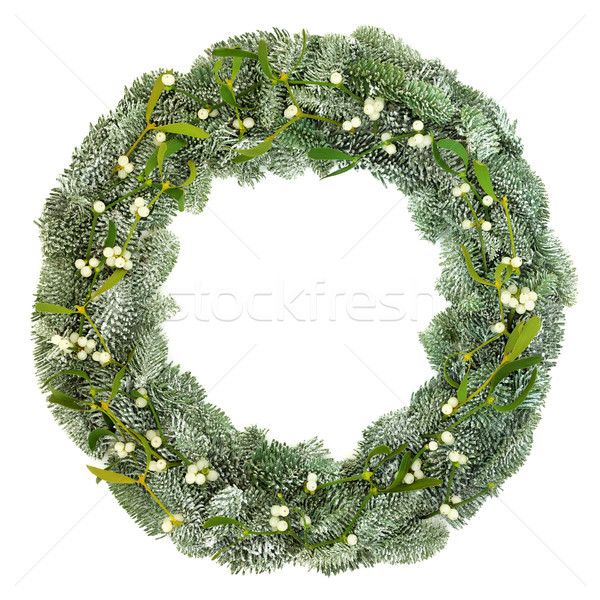 Mistletoe and Spruce Fir Wreath Stock photo © marilyna