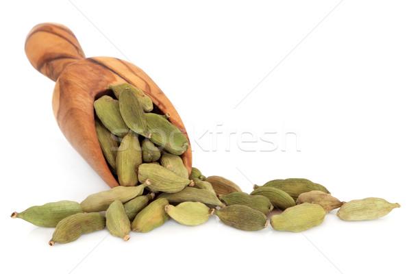 Kardemom peul Spice olijfolie hout schep Stockfoto © marilyna