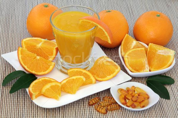 Vers sinaasappelsap vers vitamine c sinaasappelen bamboe Stockfoto © marilyna