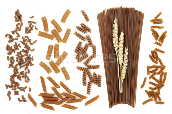 Teljeskiőrlésű búza tészta spagetti búza fülek mini Stock fotó © marilyna