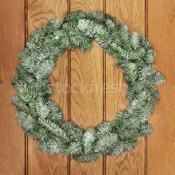 Natal enfeitar coroa neve coberto Foto stock © marilyna