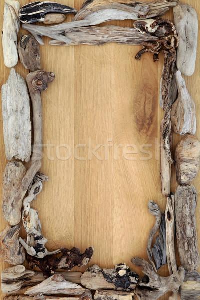 Driftwood dąb streszczenie granicy drewna projektu Zdjęcia stock © marilyna